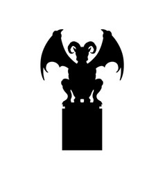 black silhouette of gothic statue of gargoyle vector image