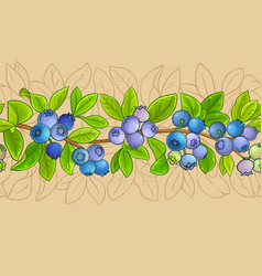 Blueberry plant pattern on color background vector
