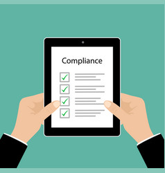 business cocept in compliance graphic with tablet vector image