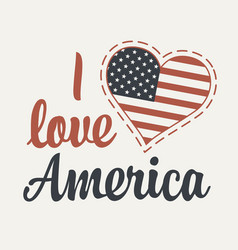 Calligraphic lettering i love america with us flag vector