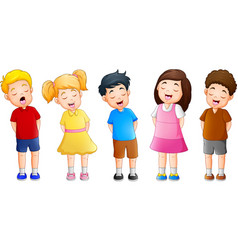 cartoon group of children singing together vector image