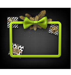 christmas background with gifts and green bow vector image
