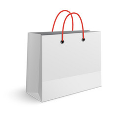 classic paper shopping bag with red rope handles vector image