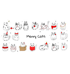 Collection of christmas cats merry christmas vector