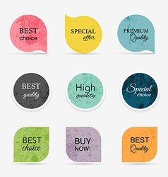 Collection of vintage promo sealsstickers Isolated vector