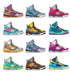 Colorful Sneaker set vector image