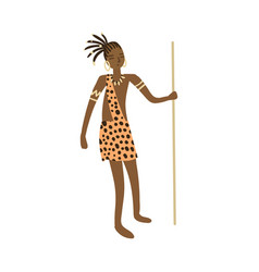 Cute african aborigine woman hunter in tiger vector