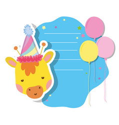 cute and little giraffe with party hat character vector image