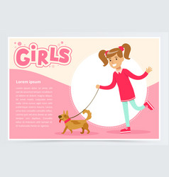 Cute beautiful girl walking with her dog girls vector