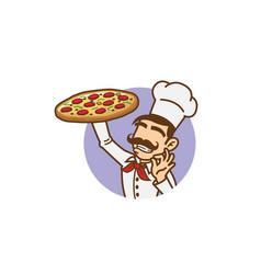 delicious big tray pizza slice logo vector image