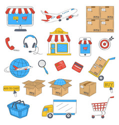 e-commerce and online shopping hand drawn icons vector image