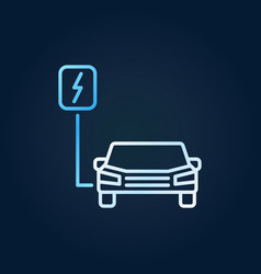 ev or all-electric car colored line icon vector image