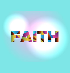 faith concept colorful word art vector image