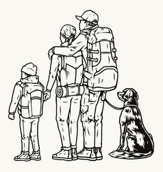 family hikers and dog vector image