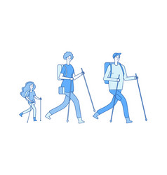 Family trip hiking trekking mom dad daughter vector