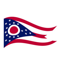 flag of ohio waving on white background vector image