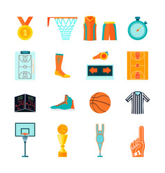 Flat basketball icons ball hoop fan equipment vector