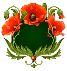 frame with red poppies vector image