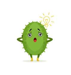 funny surprised surprised cactus cute frightened vector image