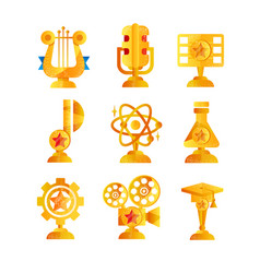 Gold awards set various trophy and prize emblems vector