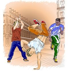 Group of Men Breakdancing vector