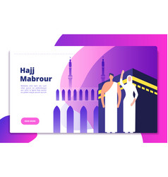 Hajj concept umrah hajj pray saudi people prayers vector