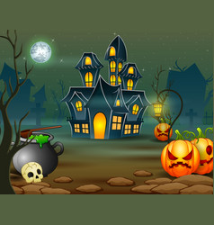 Halloween of scary house with pumpkin and green ca vector
