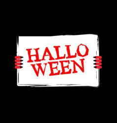 halloween red devil hand holding white sheet vector image