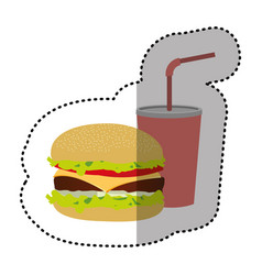 Hamburger and soda flat icon vector