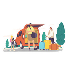 Happy family loading bags into car trunk ready for vector