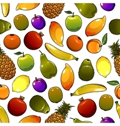 Healthy ripe fruits seamless pattern background vector image