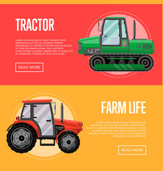 Heavy agricultural machinery flyers set vector