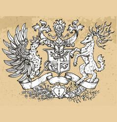 heraldic emblem with rooster bird and deer vector image
