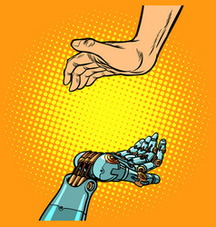 human and robot hands presentation gesture vector image