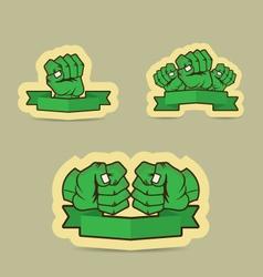 Human fist green cartoon vector image