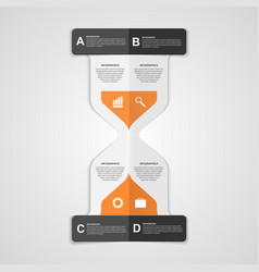 Infographics hourglass design paper style concept vector image