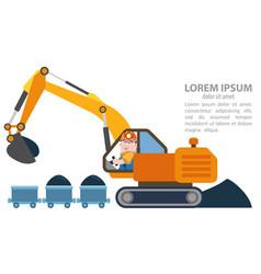 Infographics loader excavator machine coal vector