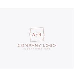 Initial ar letters decorative luxury wedding logo vector