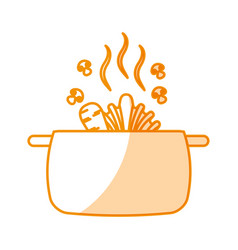 Kitchen pot with vegetables isolated icon vector
