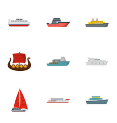 Lifeboat icons set flat style vector