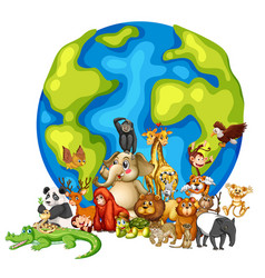 Many animals round world on white background vector