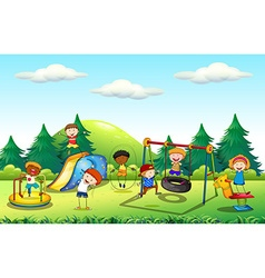 Many kids playing in the playground vector image