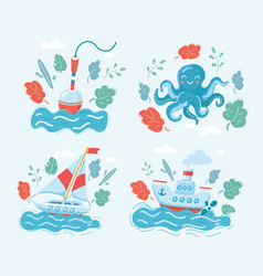 marine set on dark float octopus sailboat vector image