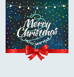 merry christmas greeting card with abstract tree vector image