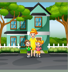 mother and children in front a house vector image