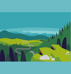 Mountain valley landscape with panoramic view vector