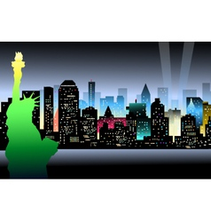 New York at Night and Statue of Liberty vector