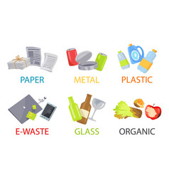 Paper metal plastic glass organic and e-waste set vector