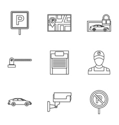 Parking area icons set outline style vector