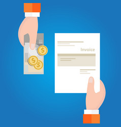pay invoice bill holding paper and cash money for vector image